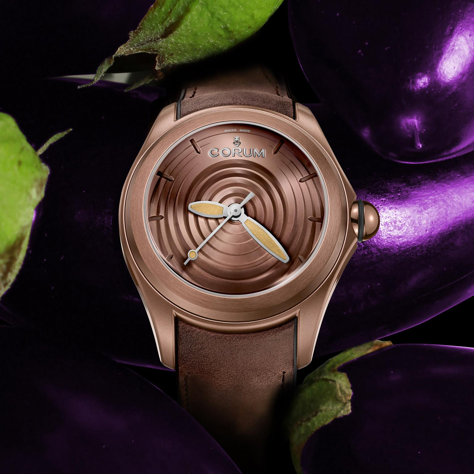 Corum Bubble Op Art watch in chocolate brown