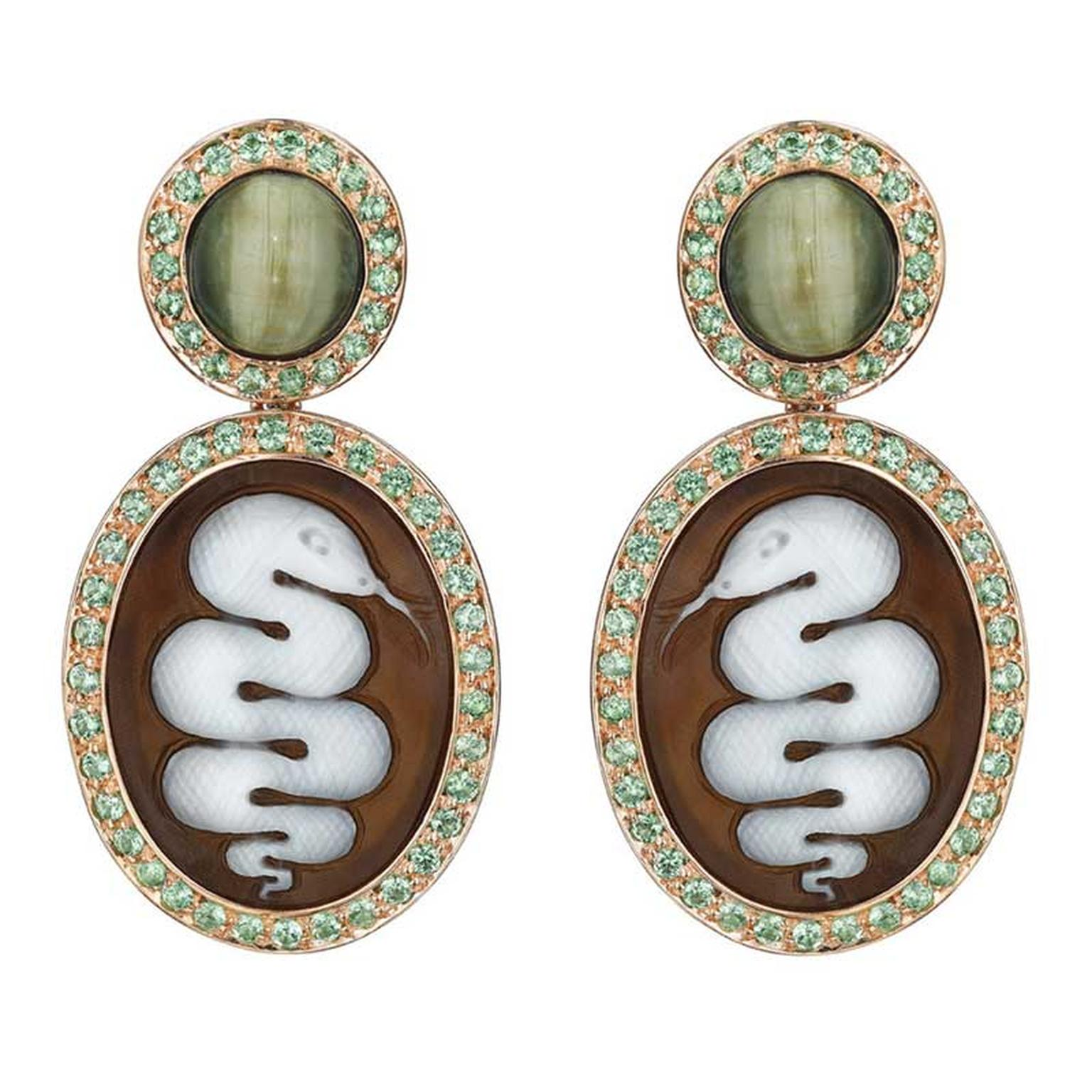 Amedeo Couture Serpent cameo earrings
