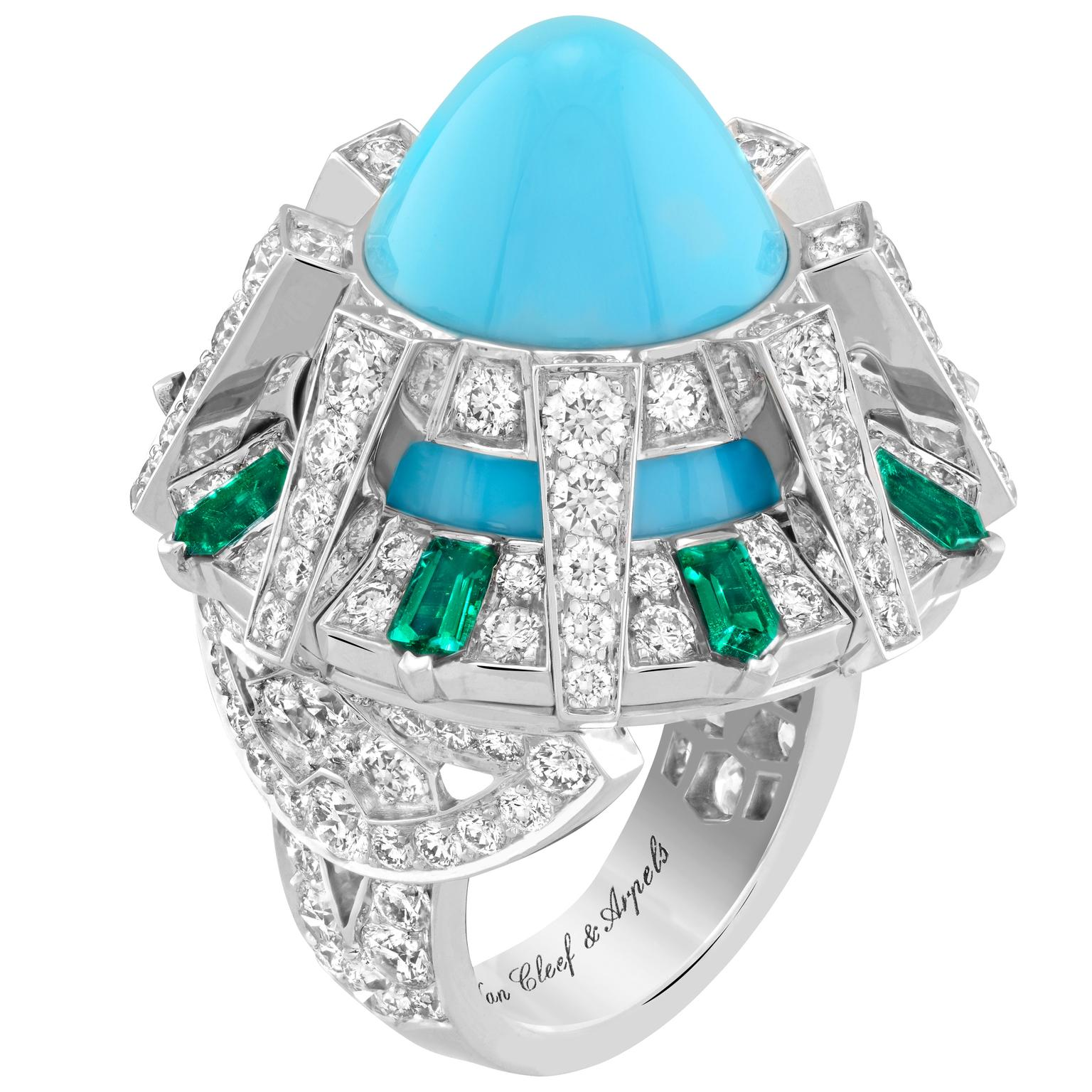 Temple turquoise ring by Van Cleef & Arpels