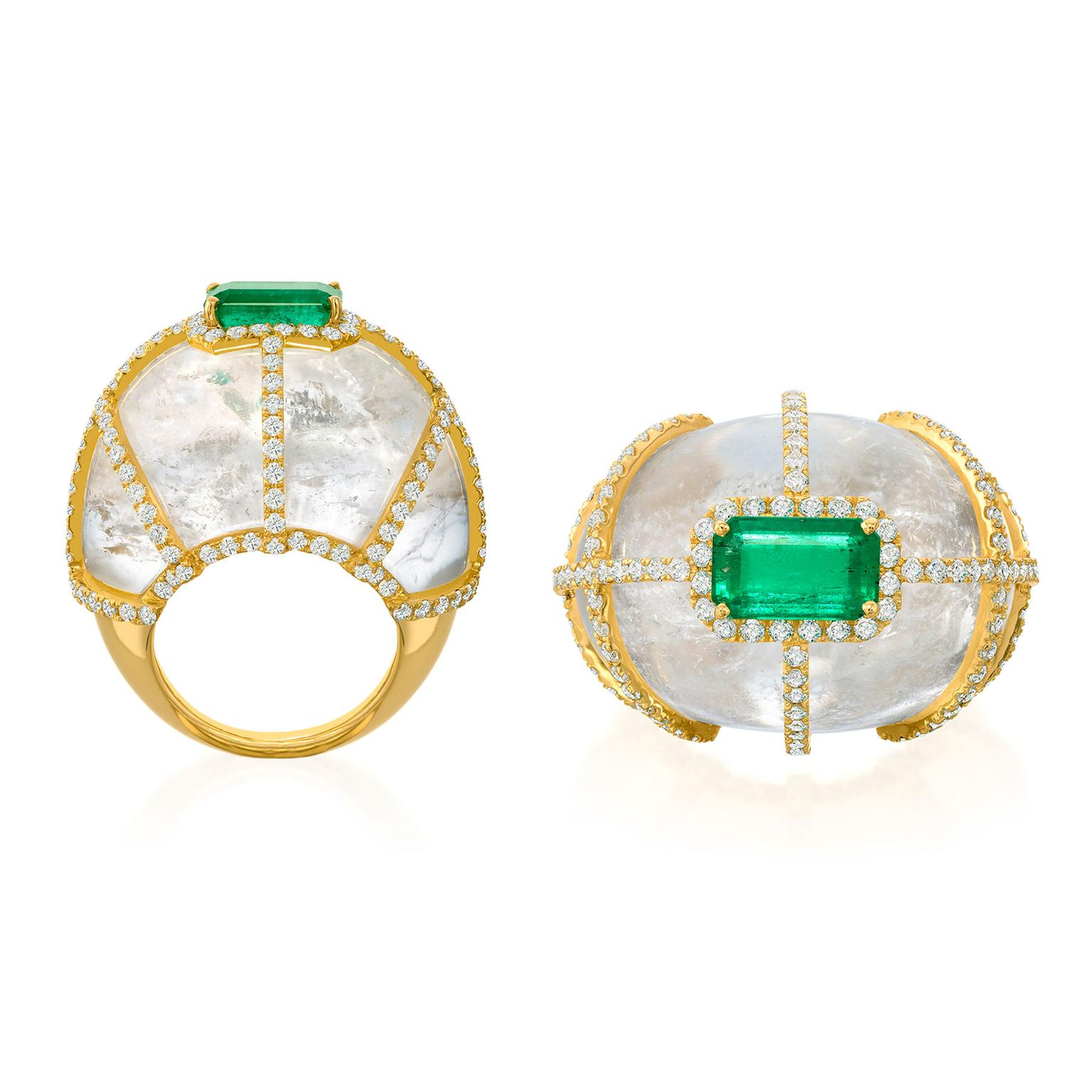 Amsterdam Sauer Illusion emerald ring with white quartz and diamonds
