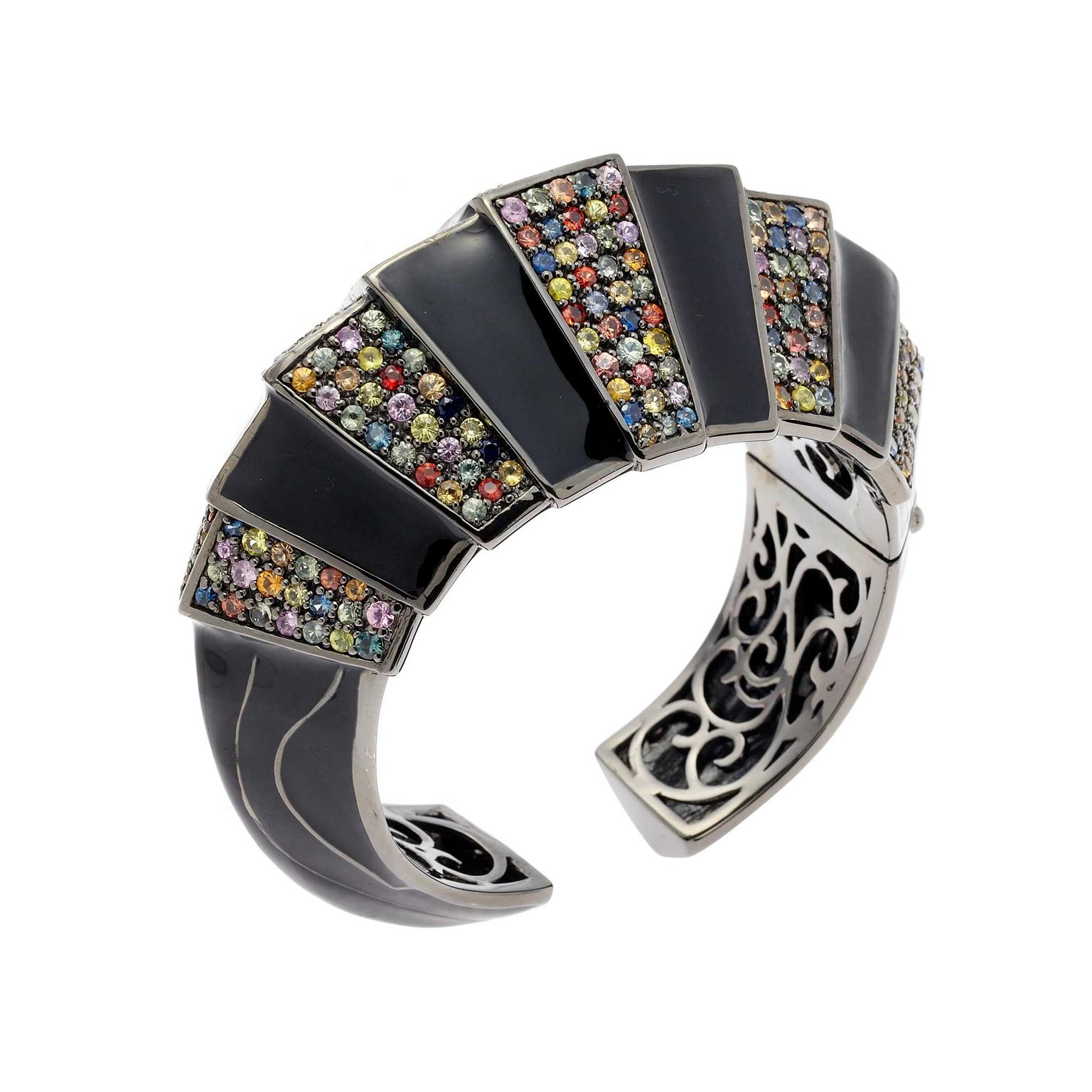 Matthew Campbell Laurenza Primordial silver cuff in black enamel, and sapphires in black rhodium