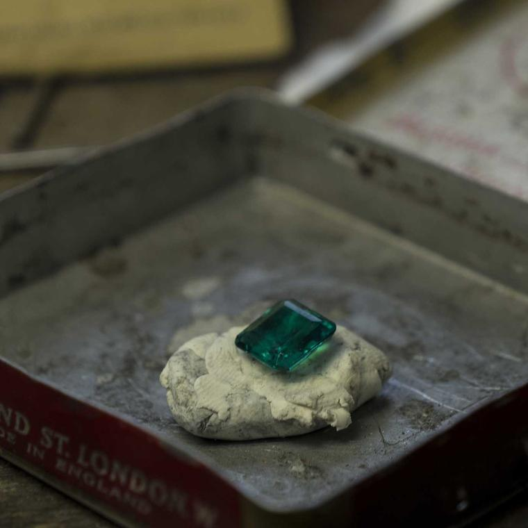 Hirsh London jewellery workshop unset emerald