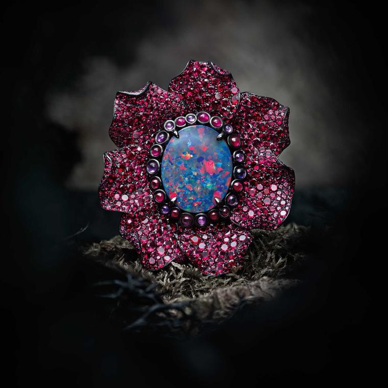 Chopard Fleurs d'Opales ring with multi-coloured sapphires