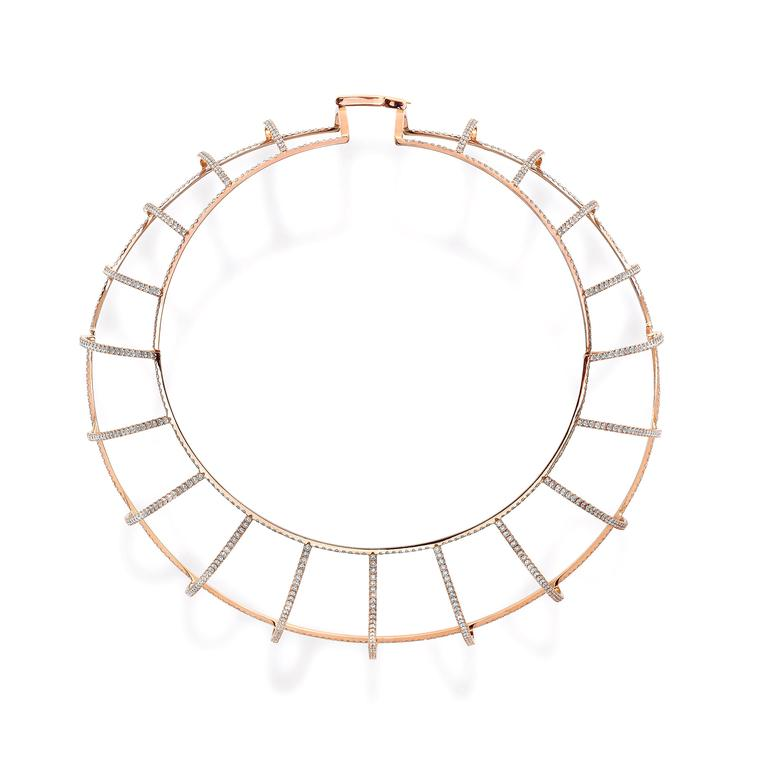 Maison Dauphin geometric pink gold necklace