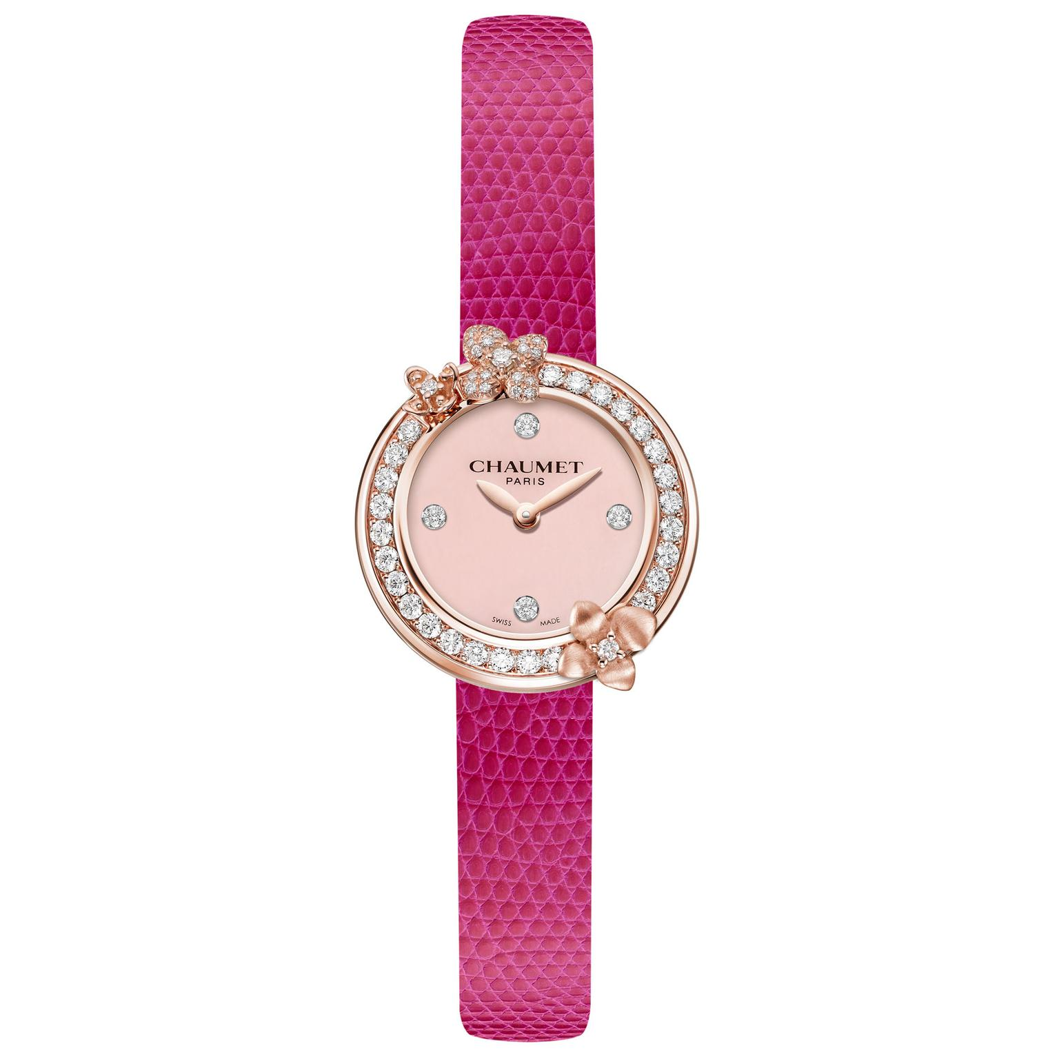 Chaumet Hortensia Eden watch with pink opal dial