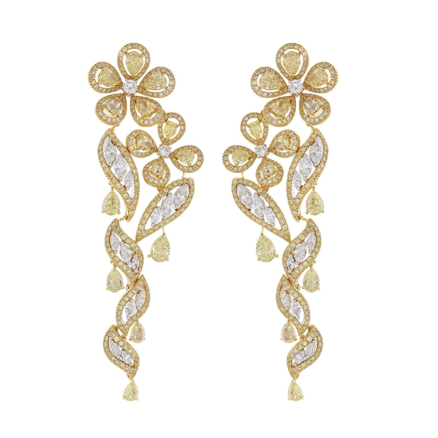 Nirav Modi Yellow Buttercup diamond earrings