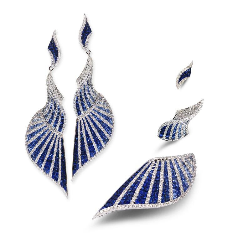 Kavant and Sharart white gold, diamond and blue sapphire earrings