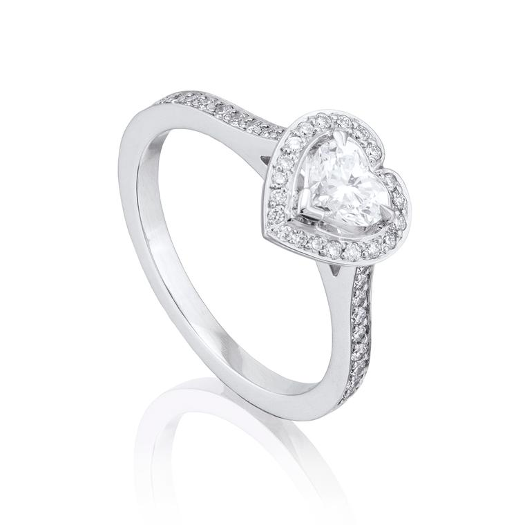 Vintage heart-shape diamond engagement ring