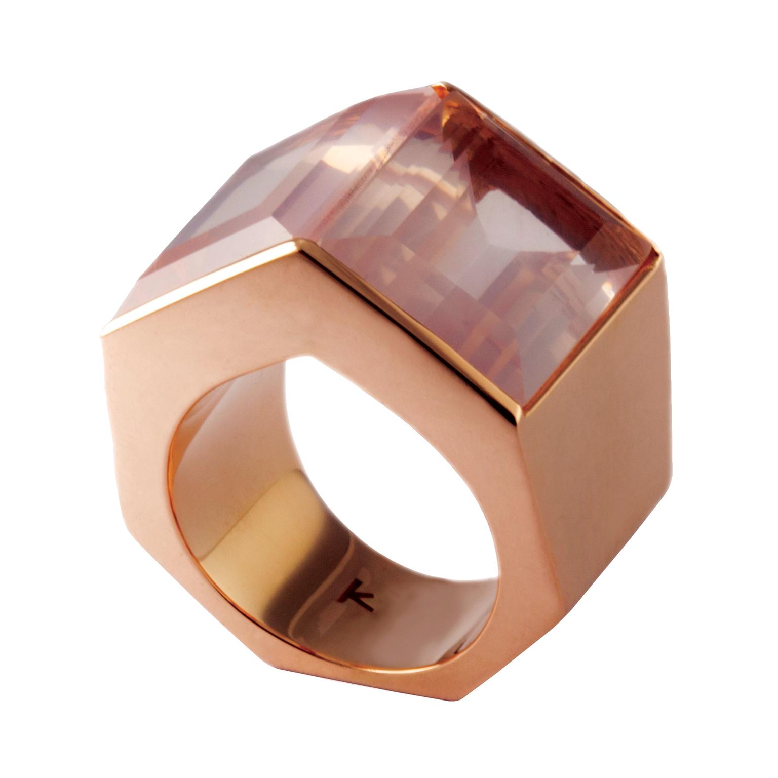 Kattri Tall Polygon rose gold and rose quartz ring