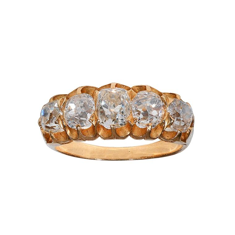 Bernardo Antichita five-stone old mine-cut diamond ring