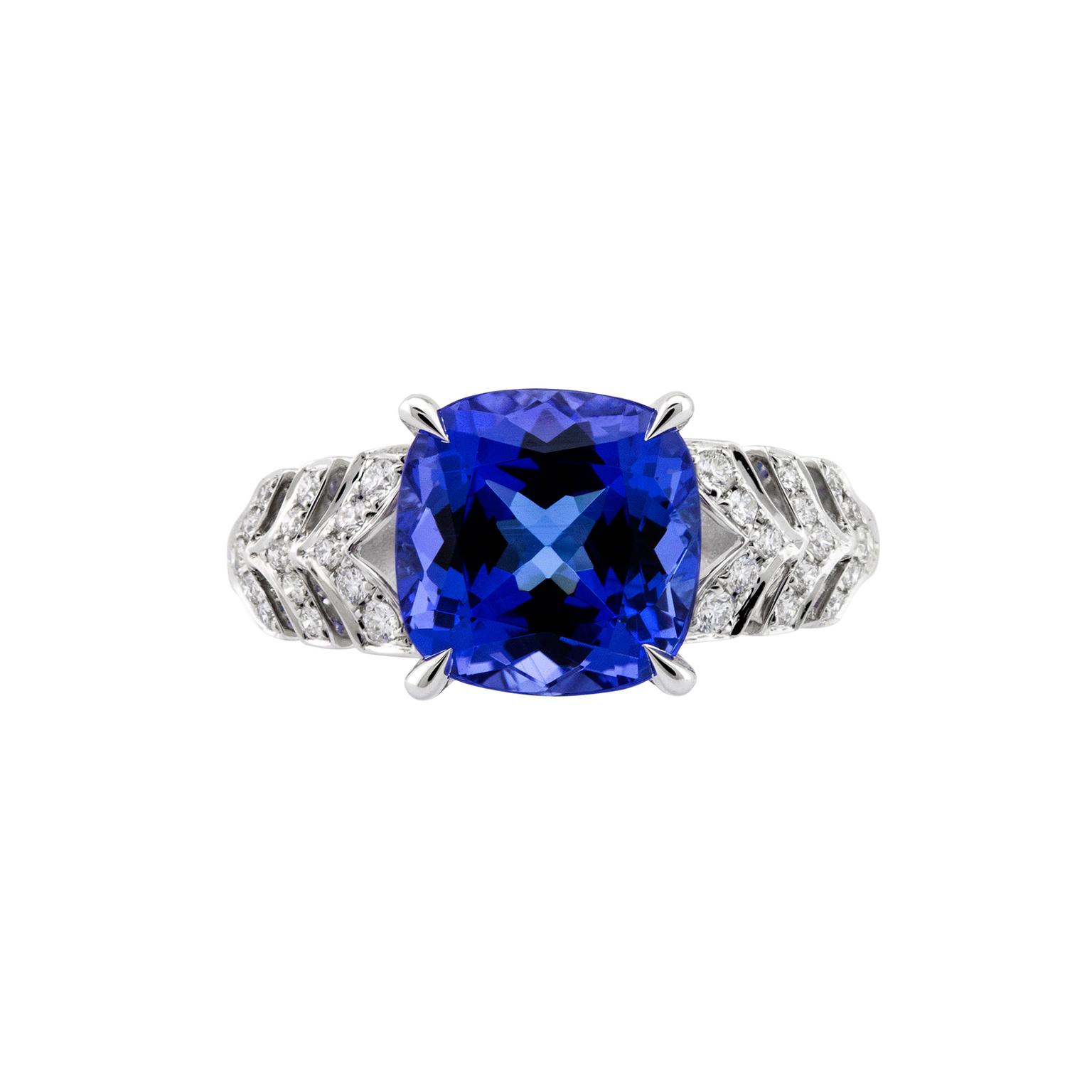 tanzanite diamond tanzinate bypass and gold white in ring double