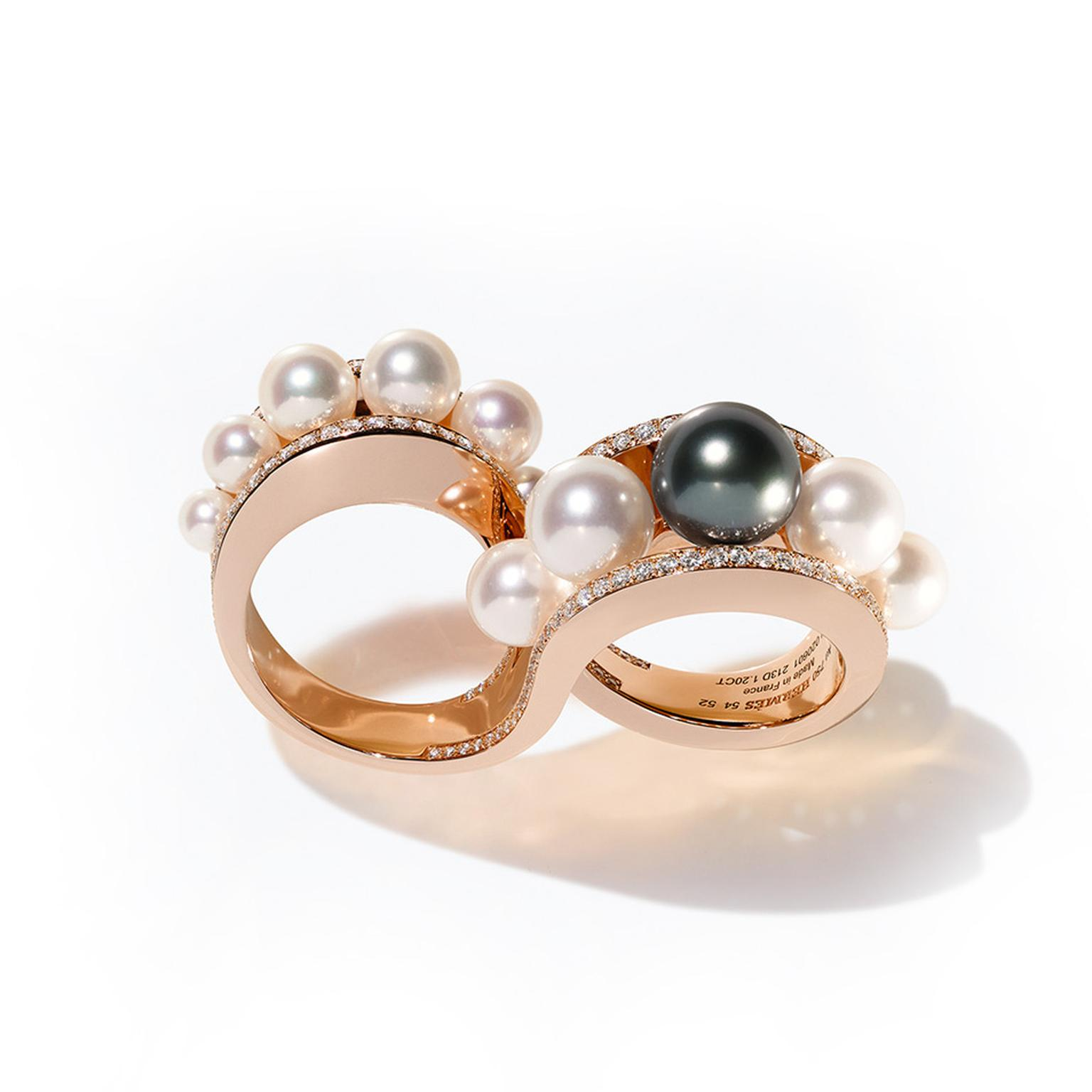 Hermès Ombres et Lumière rose gold and pearl ring from the HB-IV Continuum collection