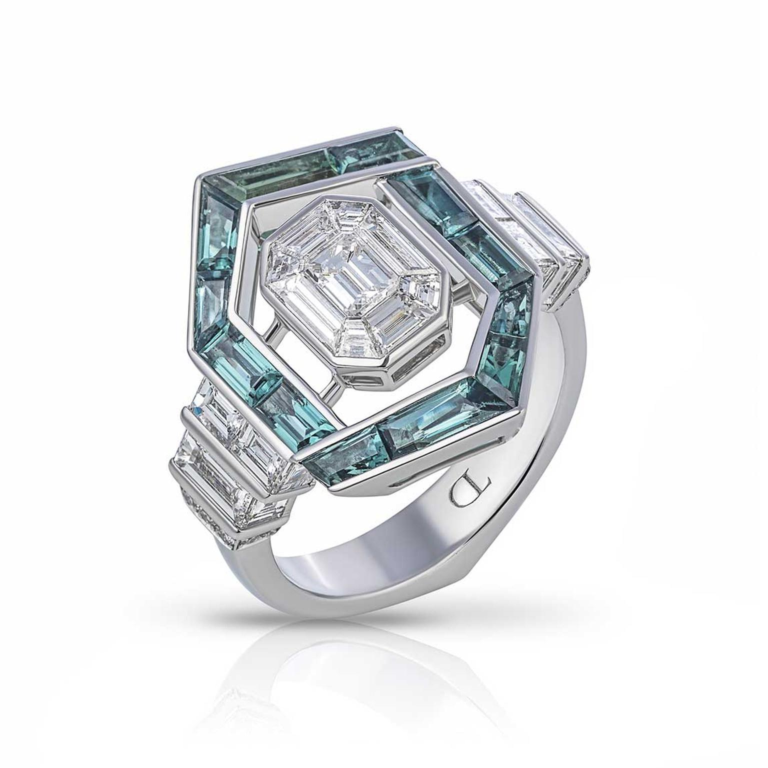 Tomasz Donocik tourmaline and invisibly set diamond engagement ring