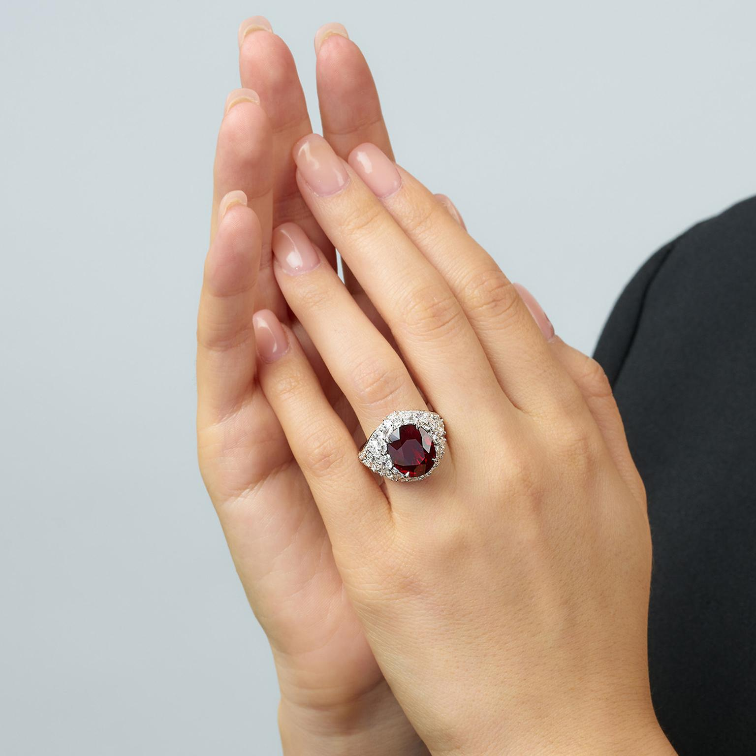 Lot 588 Ruby and diamonds ring Phillips auction on model