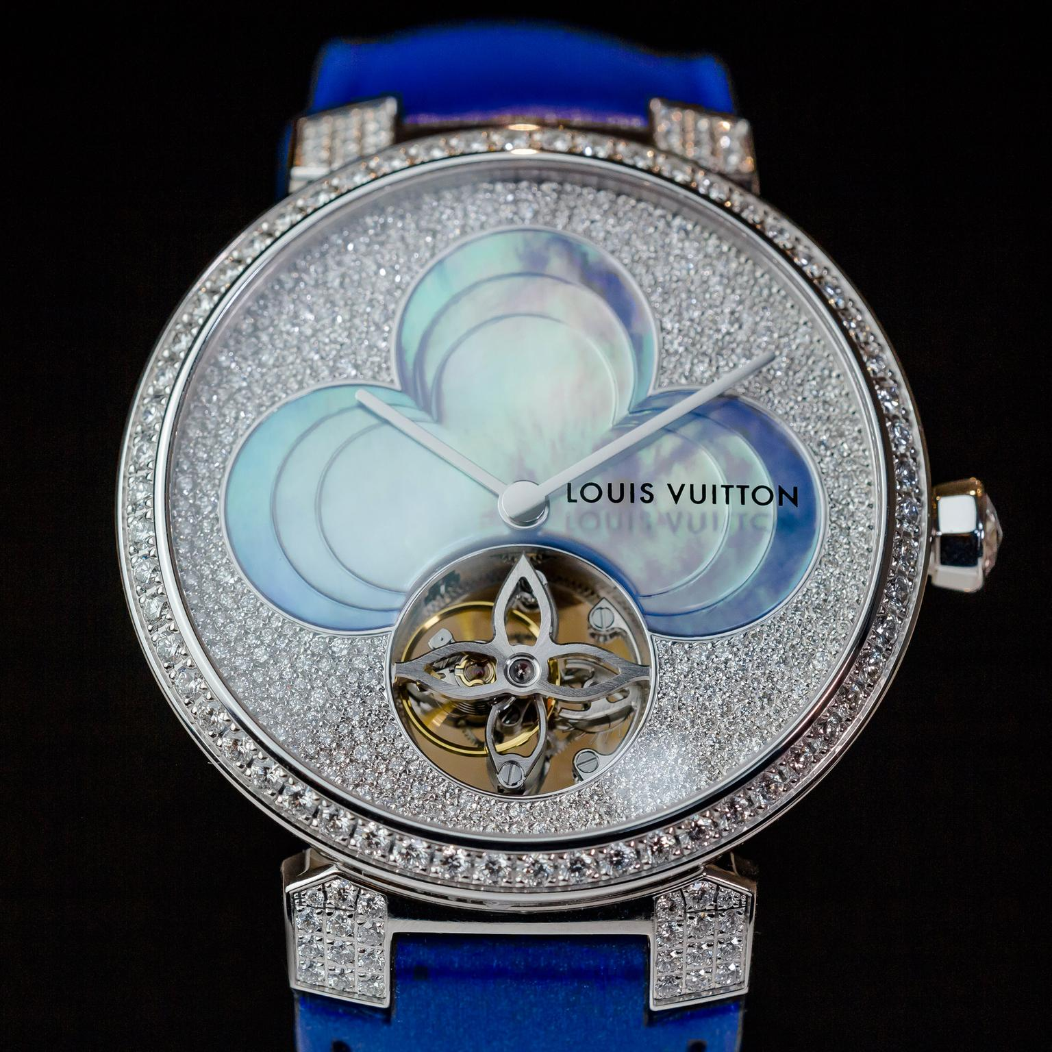 Louis Vuitton Tambour diamond watch in blue