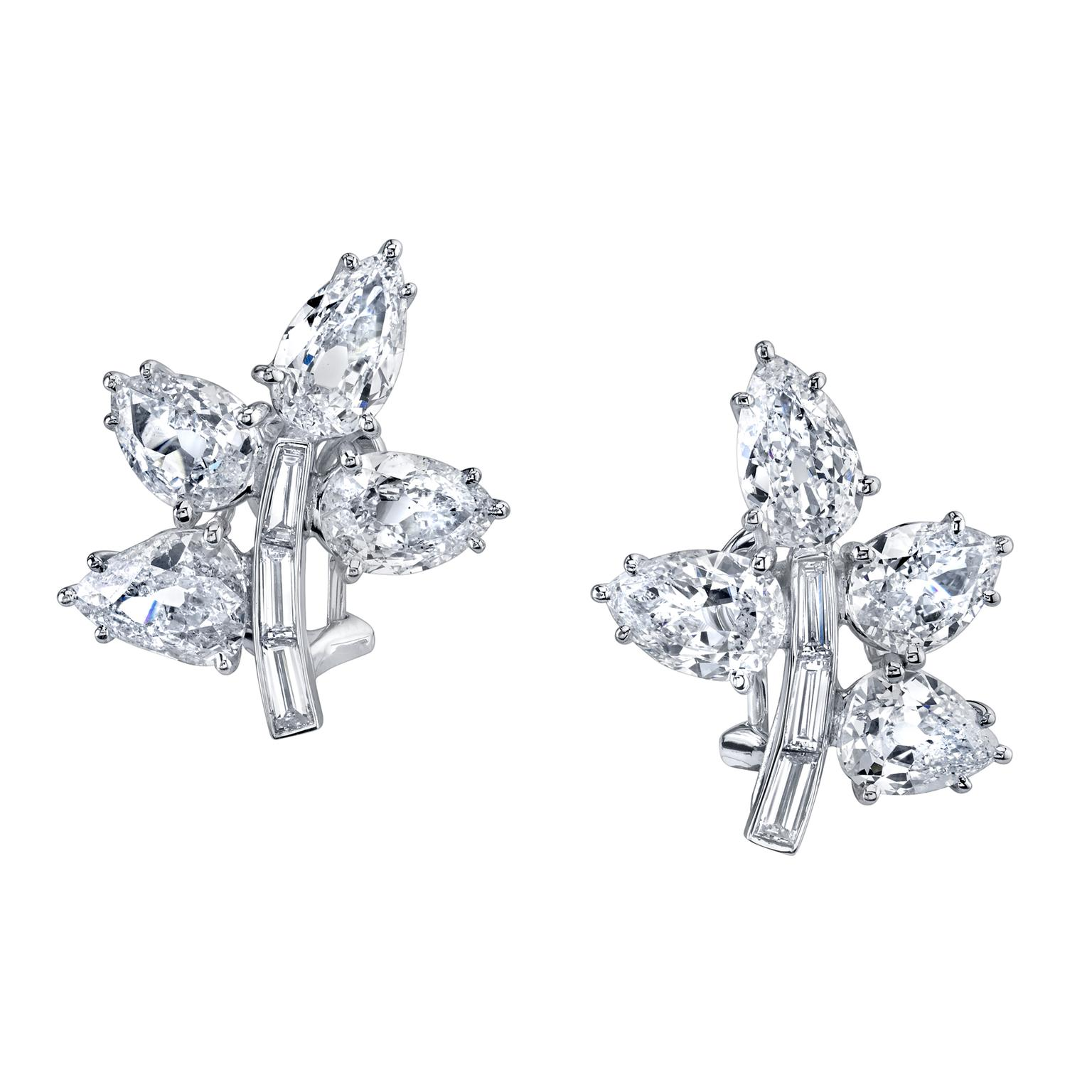 Harry Kotlar baguette-cut diamond petal earrings