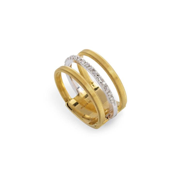 Marco Bicego Masai three row ring in yellow and white gold with brilliant-cut diamonds