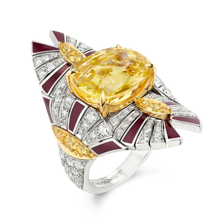 Chaumet Terres d'Or ring with yellow sapphires red lacquer and diamonds.