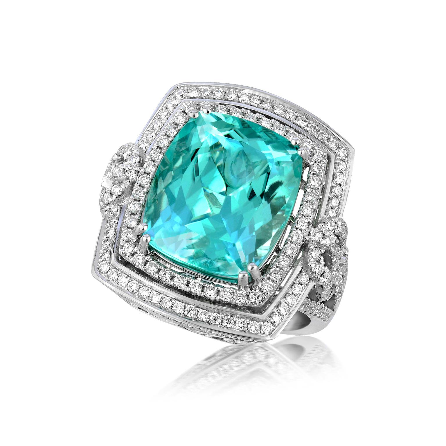 Mermaid Paraiba Tourmaline Ring With Diamonds Doris
