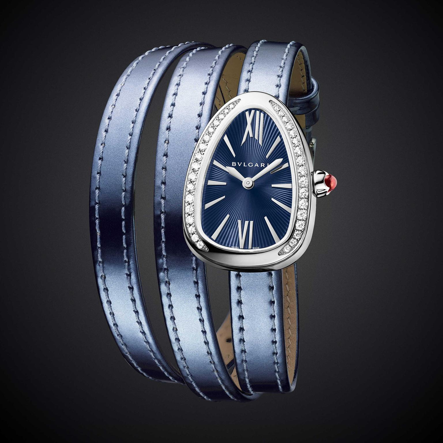 Bulgari Serpenti Twist Your Time on blue metallic leather strap