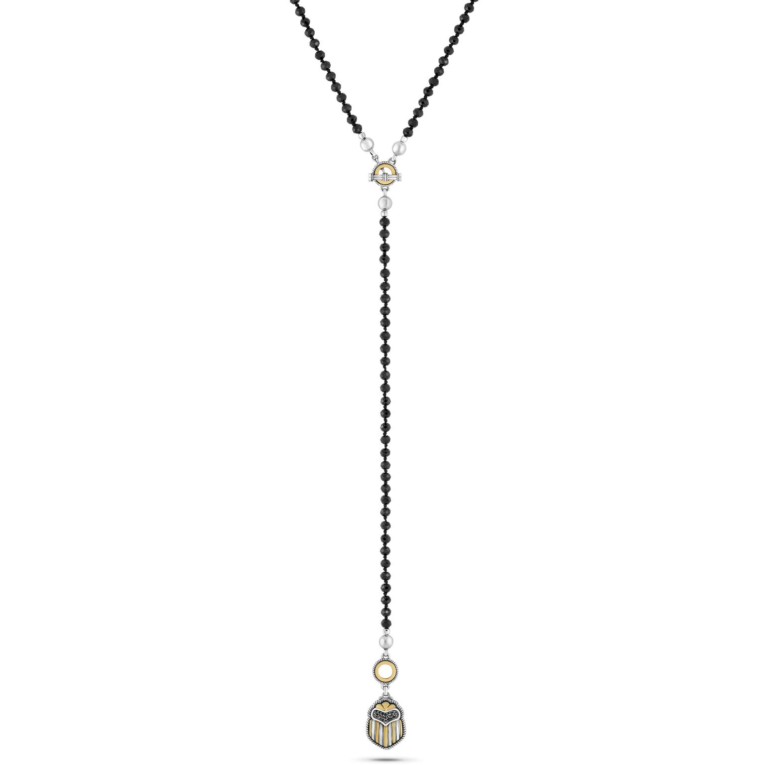 18kt Gold and sterling silver beaded multi-way scarab necklace adorned with semi-precious and precious stones (2)