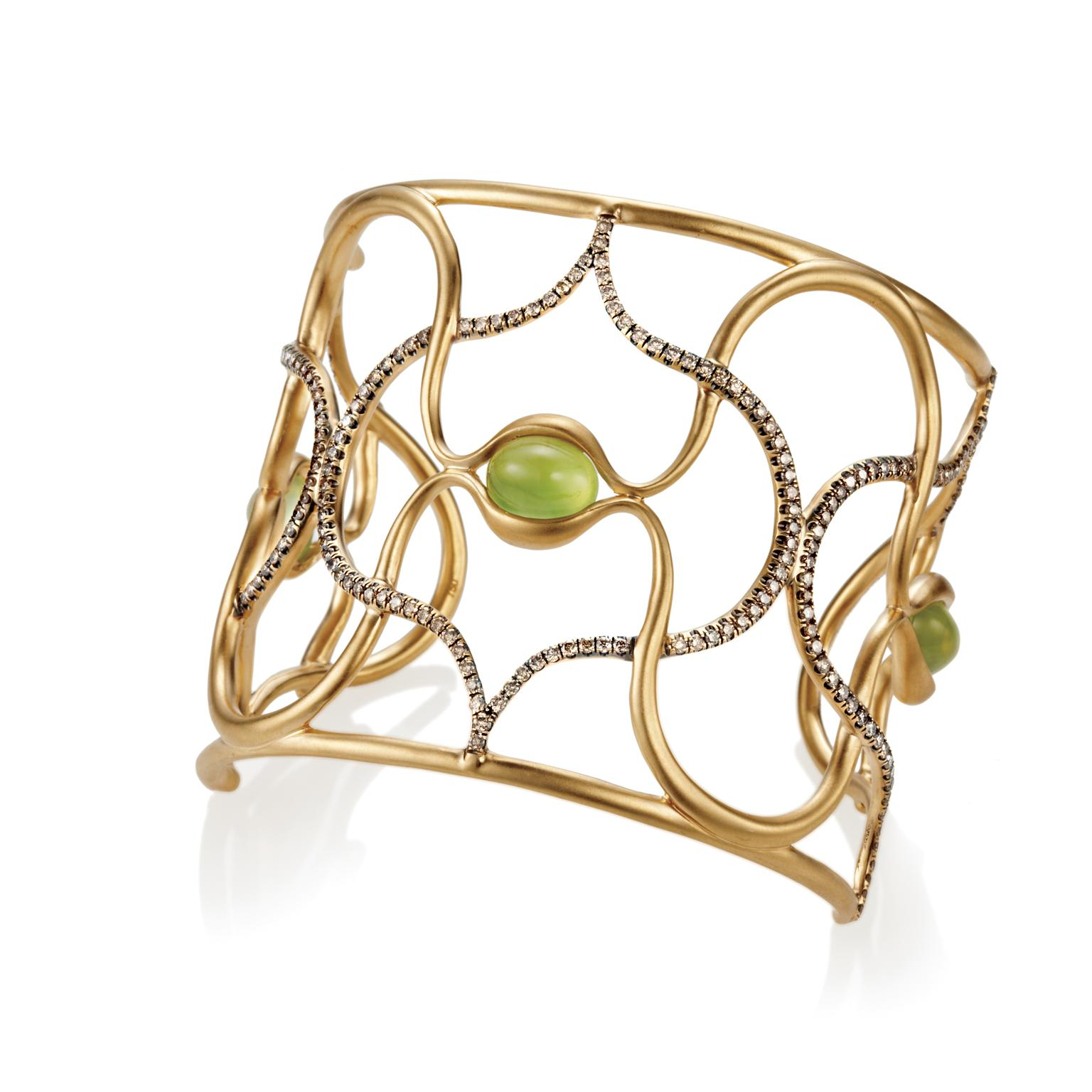 Anahita prehnite and diamond cuff bracelet