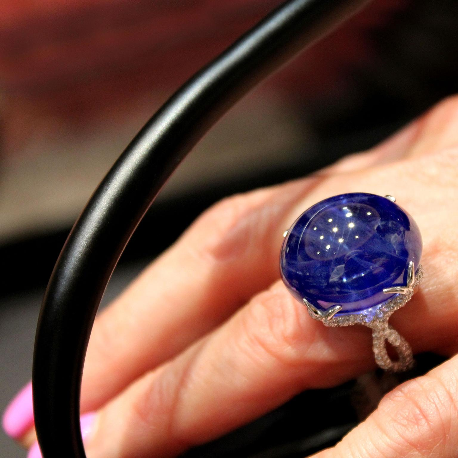 stone dinner ring burmese and three diamond sapphire no heat