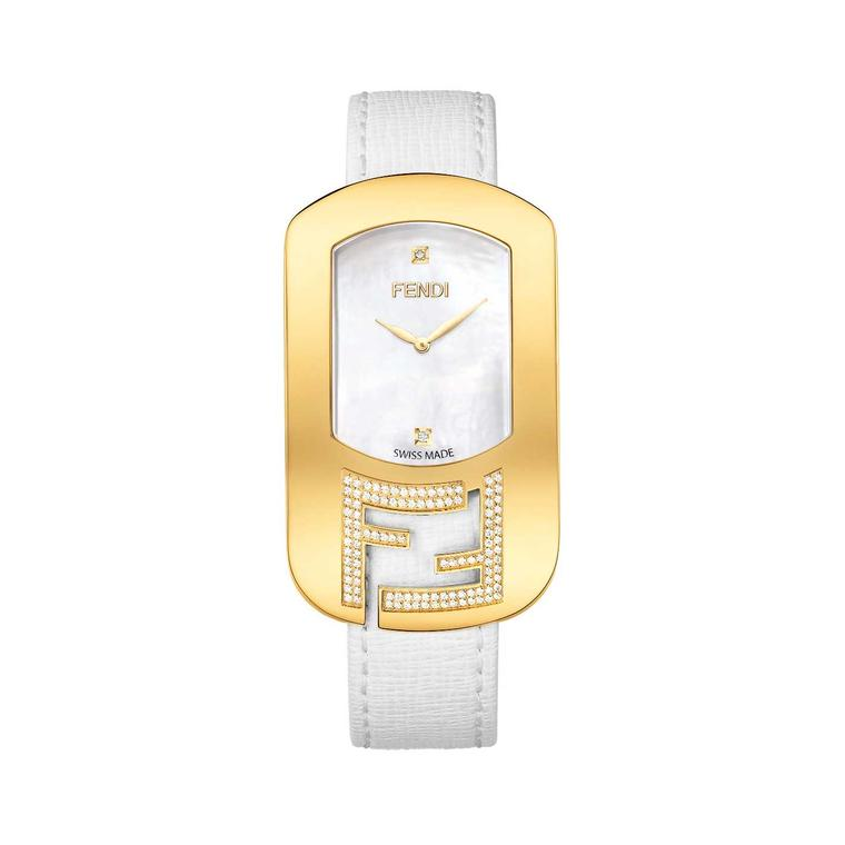Fendi Chameleon diamond watch with mother-of-pearl dial