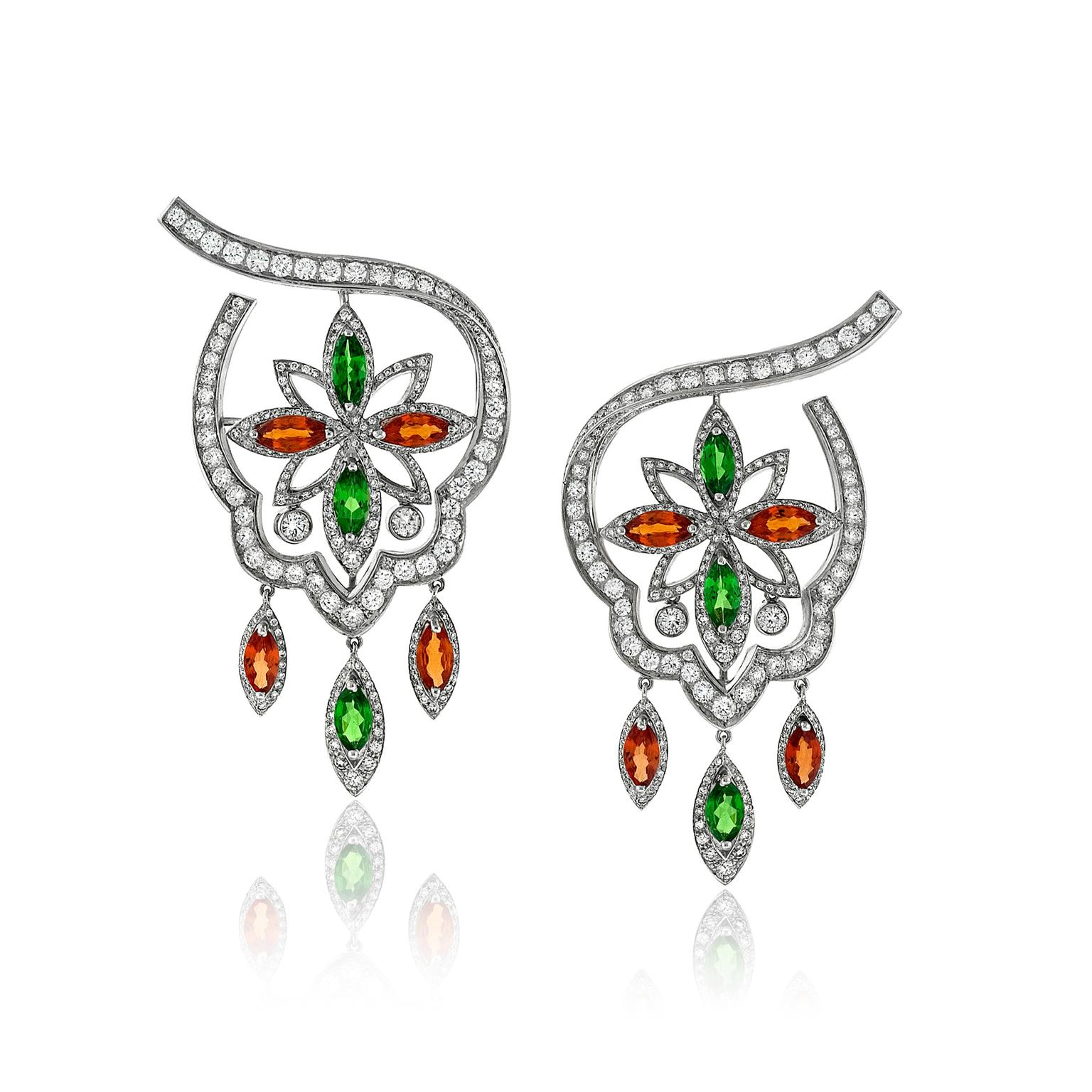Niquesa Margherita sapphire, tsavorite and diamond earrings