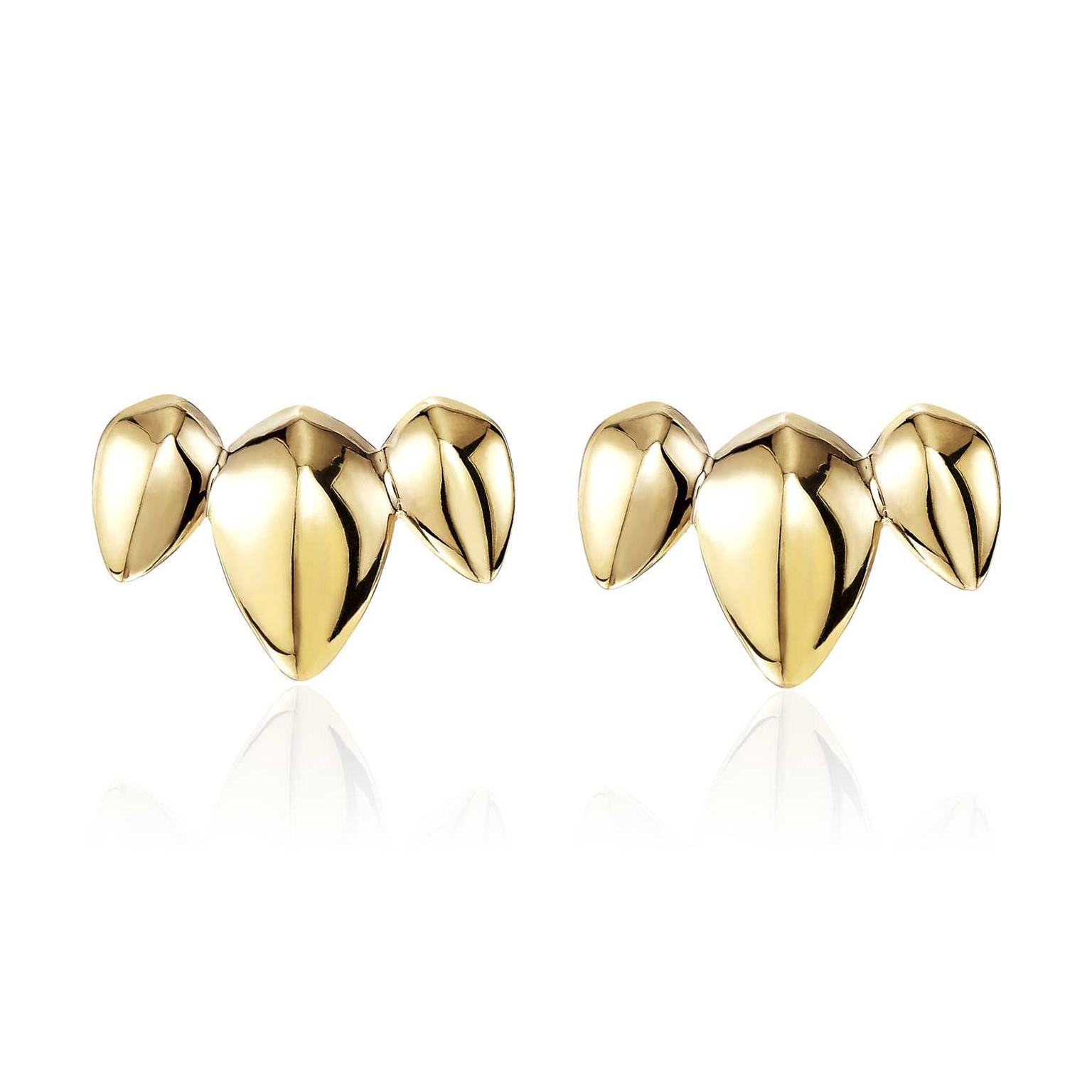 Patrick Mavros Pangolin Cresent stud earrings in gold