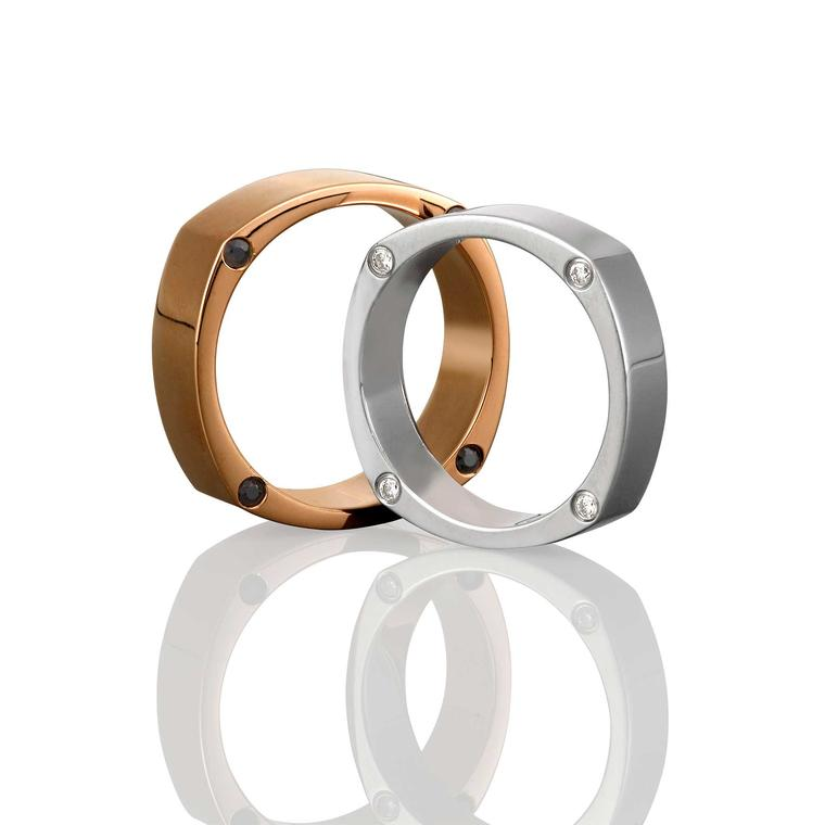 Men's wedding rings in rose gold and white gold from Mondial by Nadia Neuman