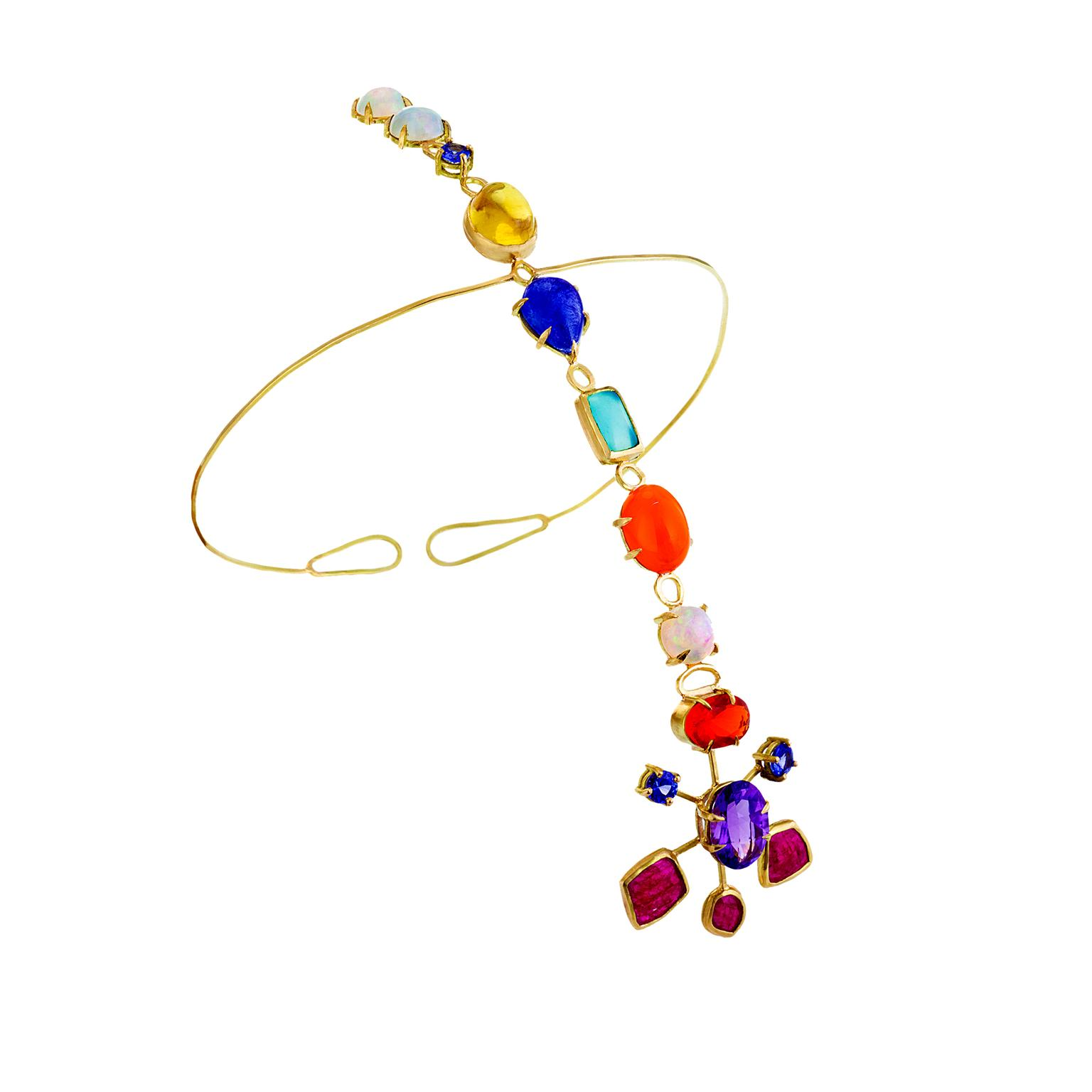 Katharine Walker ruby, opal and tanzanite headpiece