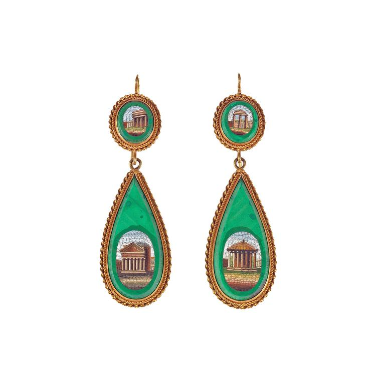 Bernado micro mosaic antique earrings