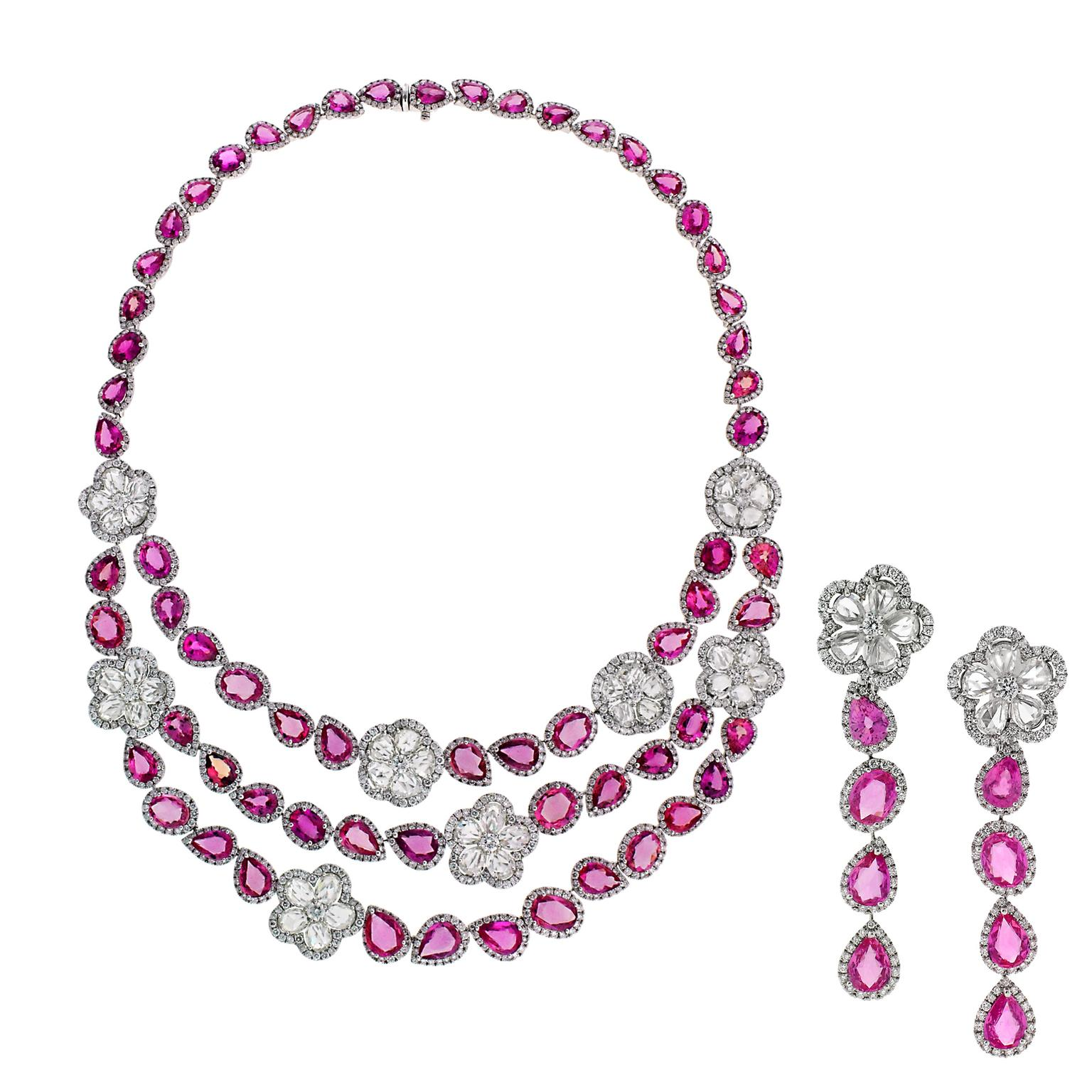 design carat necklace pink of an pin shades floral and triplet foliate gold violet sapphire varying scrolling series a composed
