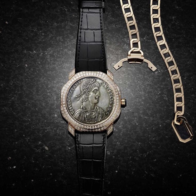 Bulgari Octo Monete watch with gold chain