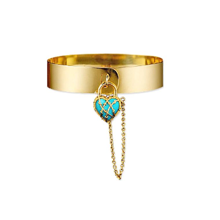Karen Karch Love Lock gold and turquoise bracelet