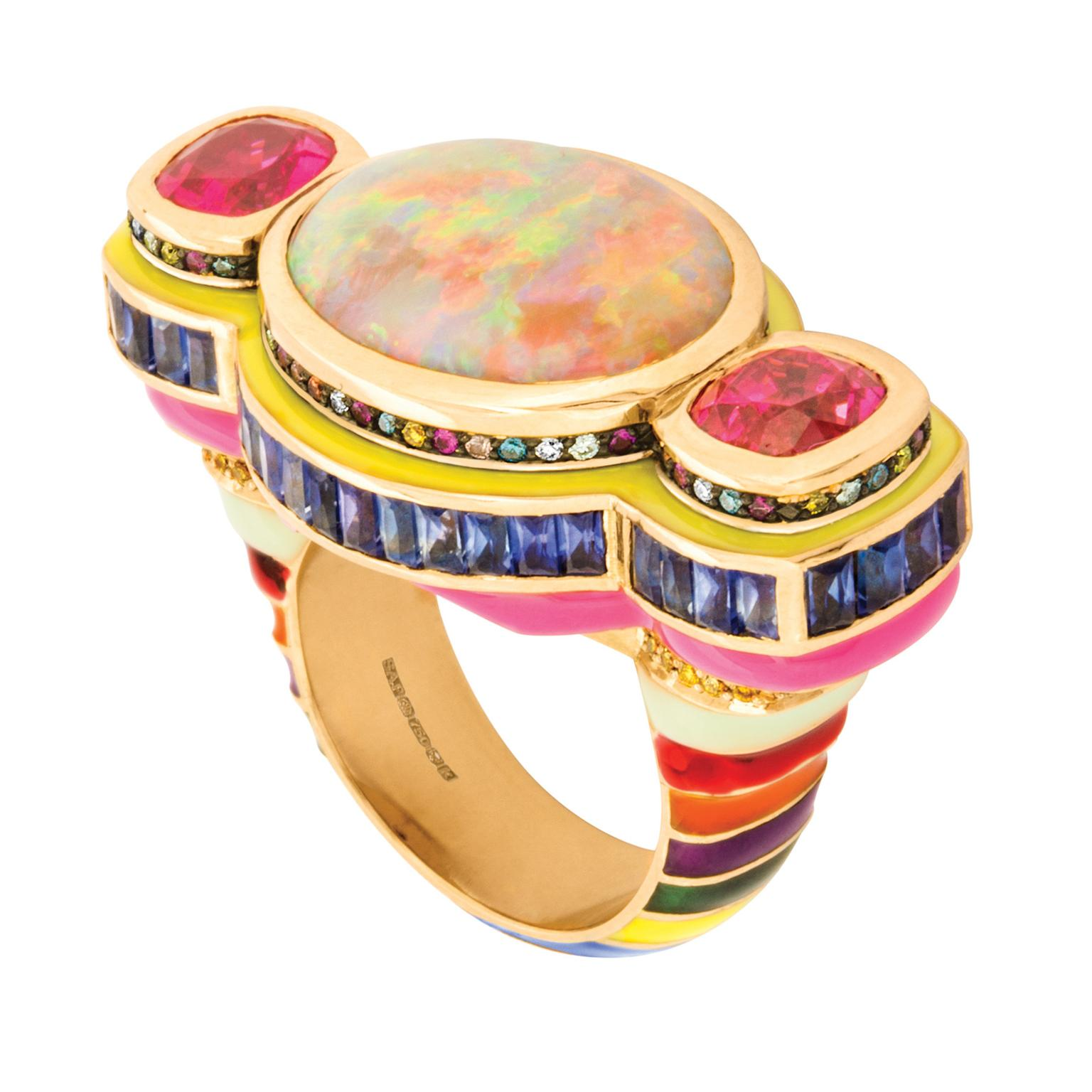Solange Azagury-Partridge Poptails Temple opal and spinel cocktail ring