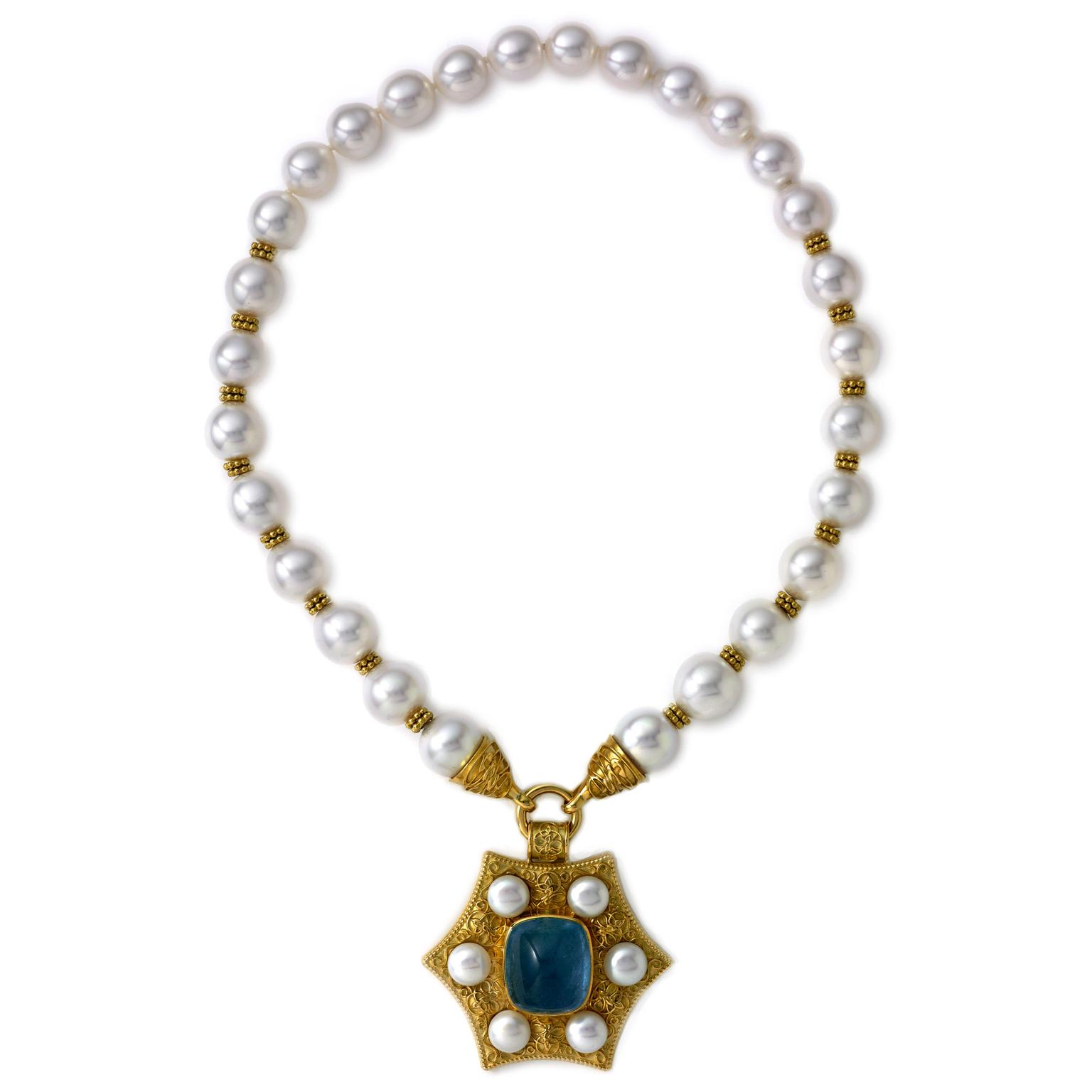 Elizabeth Gage pearl and aquamarine necklace