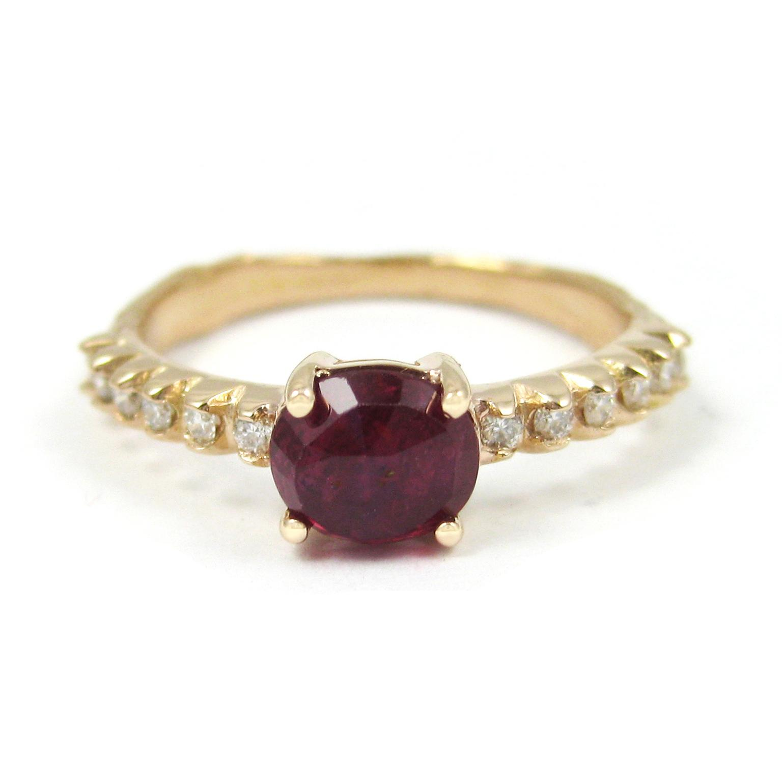 K Brunini ruby engagement ring