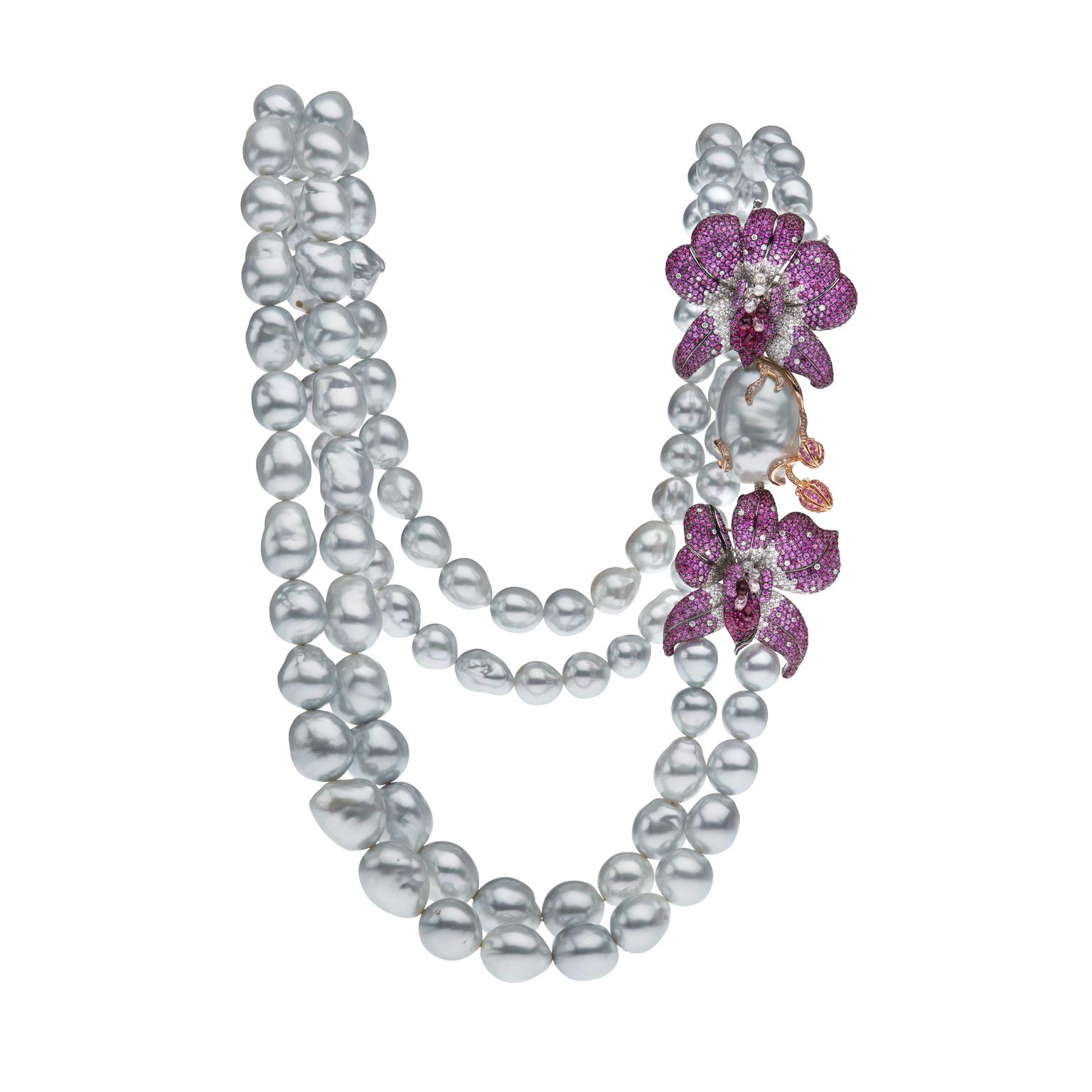 Autore Orchid Curly Pinks South Sea pearl necklace