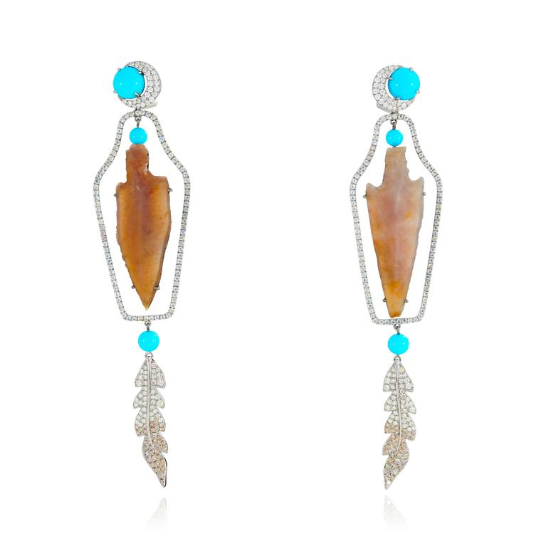 Lydia Courteille Rainbow Warrior Arrow earrings