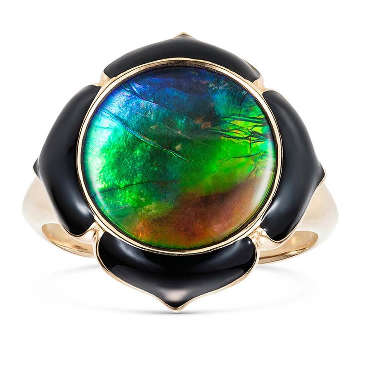 Noor Fares Prana Muladahara ammolite, ruby and black enamel pinkie ring in gold