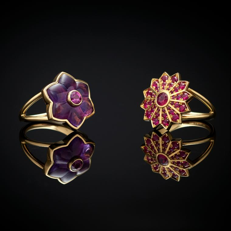 Flora Bhattachary Floral and Star Pushpa rings