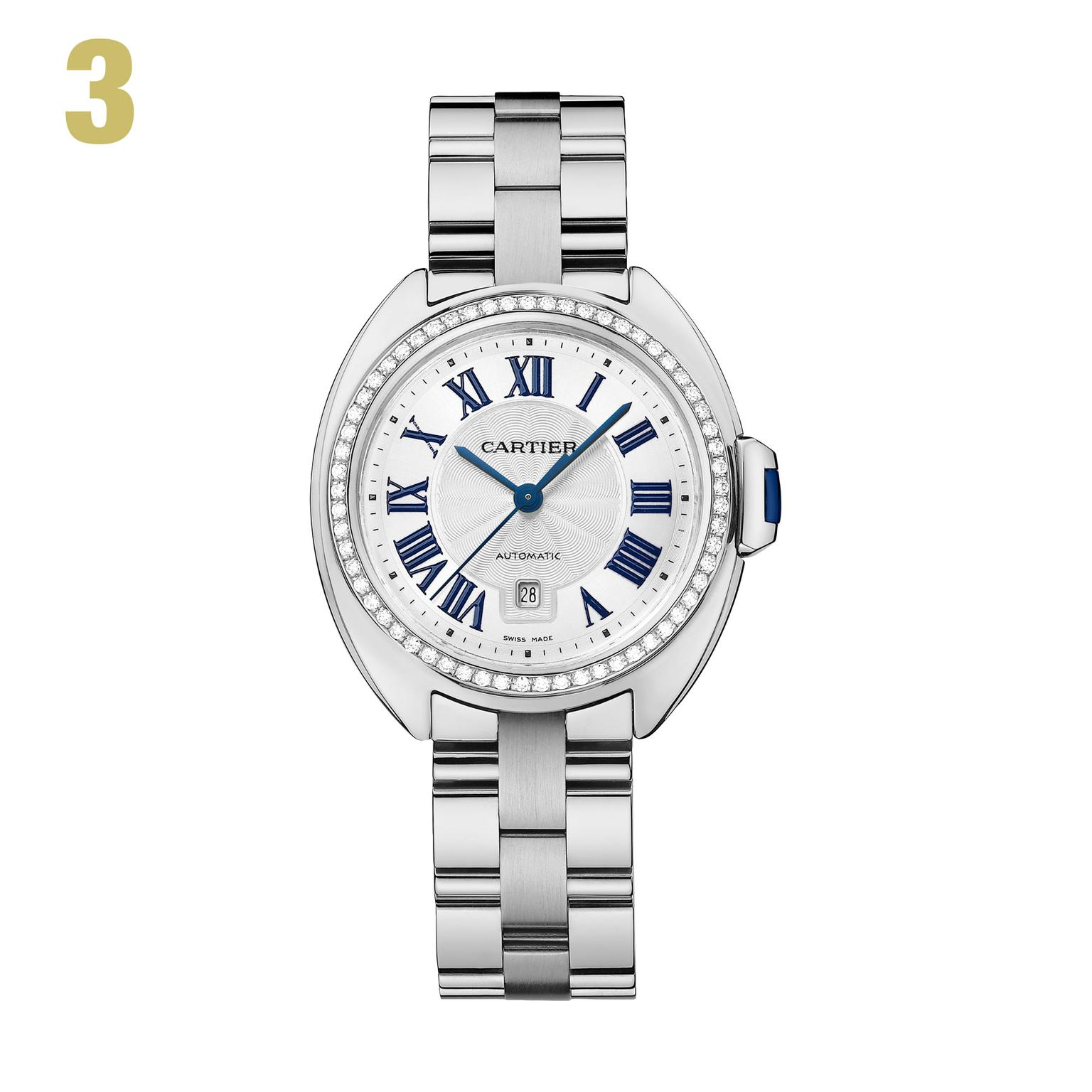 3 Cle de Cartier watch with sapphire cabochon crown and diamond-set bezel