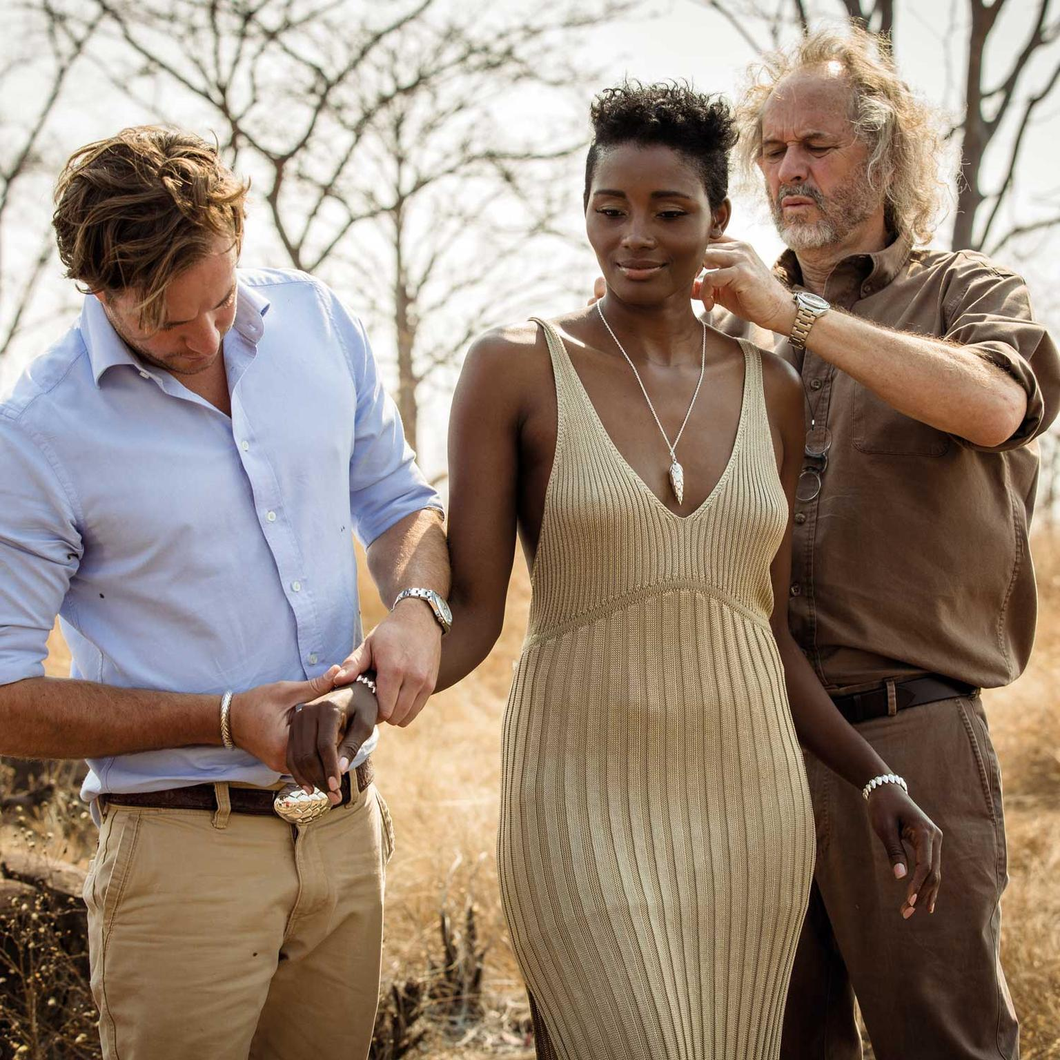 Patrick Mavros and son Pat Jnr on Pangolin jewellery shoot in Zimbabwe