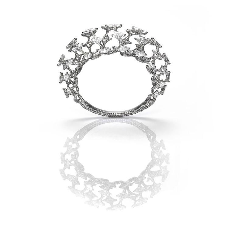 Edmond Chin open work white diamond and platinum bracelet