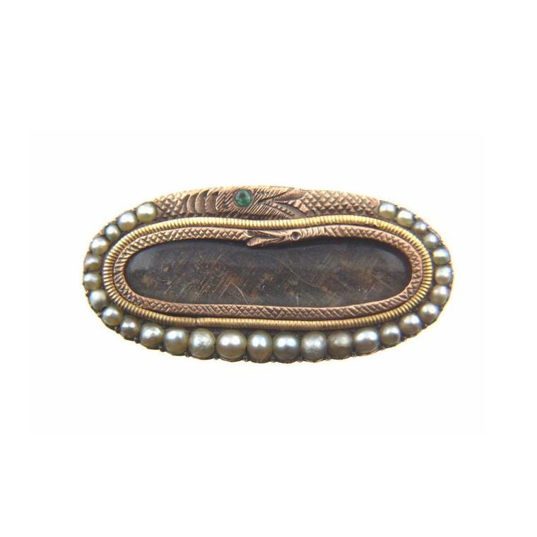 Victorian eternity hair encased mourning brooch