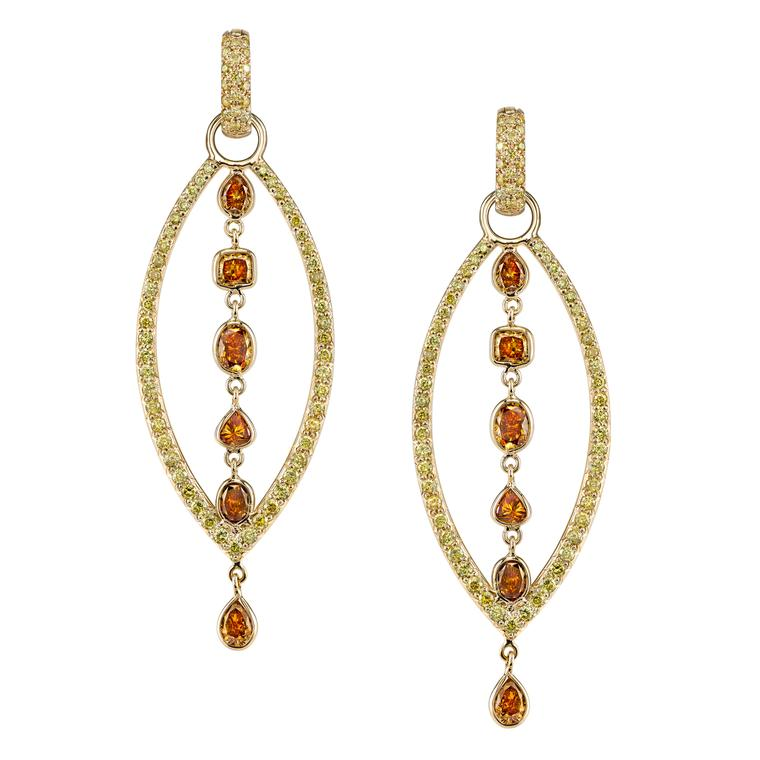 Cleopatra Queen of the Nile colored diamond earrings