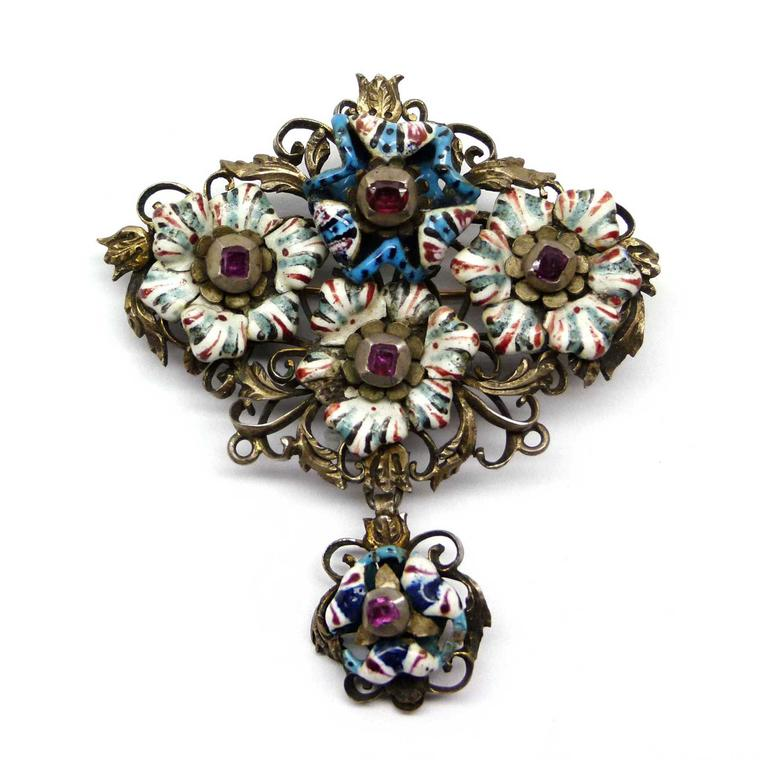 SJ Phillips 17th century enamel and ruby brooch