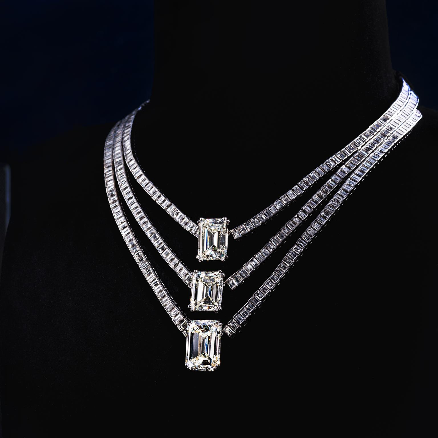 Jahan emerald-cut white diamond necklace